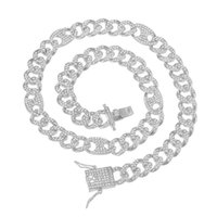 Chains Hip Hop 12MM Bling Iced Out Alloy Rhinestones Box Clasp Coffee Bean Miami Cuban Link Chain Necklace For Men Choker Jewelry