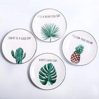 Pastorale Keramikplatten Western Steak Teller Dessert Snack Teller Brief Porzellan Geschirr Kuchenplatte