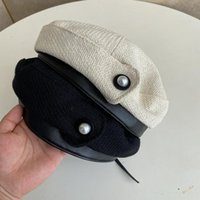 Berets Beret Caps For Women Warm Autumn Vintage Pearl Design Pu Patchwork Flat Painter Hat French Fashion Knitted Cotton Winter