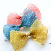 Hair Accessories 10pcs Lot Dot Yarn Bows For Girls Handmade Organza Hairpins With Clips Children Simple Cute Headdress