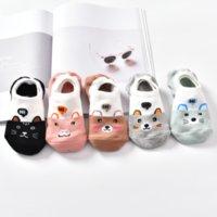 10 Stück = 5 Paare / Menge Niedliche Tierfrühling Frauen Socken Set Koreanischer Stil Lustige Katze Hund Panda Niedrigschnitt Knöchel Kurz Sox Happy Size34-40