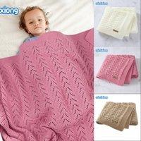 Mantas de bebé Swaddle Wrap 100 * 80 cm sólido recién nacido bebes cochecito de cama Cesta de ropa de cama Manta Super suave para niños Puntas de punto 848 x2