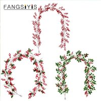 Decorative Flowers & Wreaths Christmas Berry Vine Garland Artificial Fruits Green Plants With Red Hanging Wall Door Home Halloween Decoratio