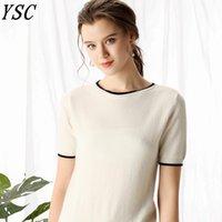 Suéteres de mujer YSC 2021 Patrón Mujeres CashMere Suéter Una palabra Cuello Edificio Decoración Fino Hilado Buena Ventilación Suéteres de alta calidad