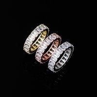 Luxury Bling Rectangle Zircon Women Rings Fashion 18K Gold Rhodium Plated Circle Hip Hop Band Rings