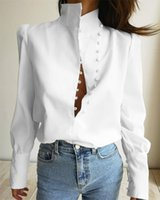 Women's Blouses & Shirts Women Elegant Turtleneck Blouse Long Sleeve White Shirt Office Lady Top Casual Solid Single-Breasted Puff Womens