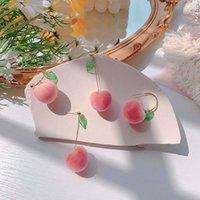 Yutong 2020 Nuovo Giapponese Summer Summer Suede Pink Carino Peach Orecchini lunghi per le donne Fruit Earring Party Gioielli Accessori estetici Regali