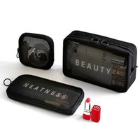 Women Men Necessary Black Mesh Cosmetic Bag Transparent Travel Organizer Fashion Small Large Toiletry Bags Makeup Pouch Storage