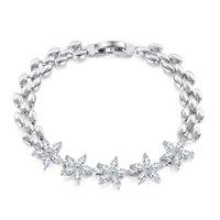 2021DIY Beaded Lady Elegant Snowflake Colorful Zircon Platinum Bracelet Hypoallergenic, Charm Gift Box 19cm