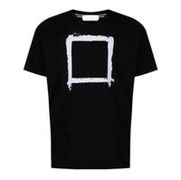 2021 Hombres y mujeres Tshirt Designer Luxury Tees Compass Logo Impresión de alta calidad Hilo Doble Liso Algodón Pareja estilo High Street Dos colores Tops de verano