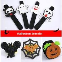 Halloween Slap Bracelet Party Decoration Bat Pumpkin Ghost Shape Series Clap Plush Pat Hand Circle Toy Bangle RRB9268