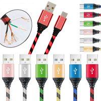 Cavi di carica in nylon intrecciati 2.1a 1M 3ft Micro USB Type-C telefono rapido rapido cavo di ricarica rapido