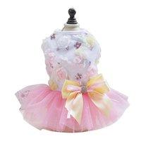 Summer Dog Dress Skirt da sposa Bowknot Lace Sequins Abbigliamento per animali domestici per piccoli cani medi medio dolce maglia gatto gonne corte abbigliamento