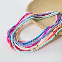 Cortadores Minar Bonito artesanal colorido polímero polímero clay coradeira colar para mulheres arco-íris macio cerâmica disco de vinil frisado colares presente