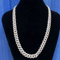 """Necklaces Mosangnai 20"""" 10mm White Iced Out Moissanite Diamond Miami Cuban Link Chain Silver 18k Gold Plated Hxjr"""