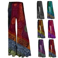 Women's Pants & Capris Ethnic Trousers 2021 Style Printed Wide-leg Show Legs Long Flared
