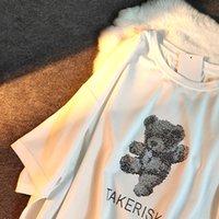 Tasarımcı kadın t-shirt casual tops moda altın ayı kısa bayanlar kol yuvarlak boyun grafik ee