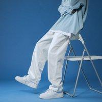 Mens solide Couleur Solid Harem Jeans Blanc / Black coréen Homme Lâche Denim Pantalon Streetwear Streetwear Sommale Pantalon Casual 4 Couleurs