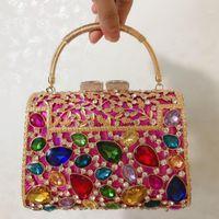 تألق المرأة الملونة المحافظ حقائب السهرة الزفاف الماس حقائب حفل زفاف أحجار الراين كيس مخلب الأزهار حقائب Clutch1