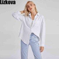 Lizkova Blouse Bianco Blusa Donne Manica lunga Green Shirt Green Shirt Femmina Pocket Pocket Top ufficiale Blusas Roupa 8866