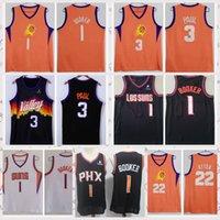 2021 Vintage Hombres Retro Classic Basketball Jersey Chris 3 Paul Devin 1 Booker Deandre 22 Ayton Shirts Transpirable corto Tamaño Negro S-2XL