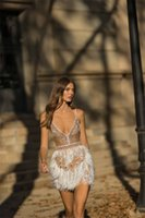 Feather Prom Beads Dresses Spaghetti Strap Sleeveless Deep V Neck Evening Dress Custom Made Mini Above Knee Length Party Gown