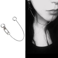 Dangle & Chandelier Gothic Lip Nose Chain Earrings For Women Girls Punk Hip Hop Chained Ear Ring Fashion Body Piercing Jewelery