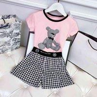 Casual diseñadores ropa niños conjuntos cc verano grils vestidos moda ropa de bebé impresión gril polo camisas gran calidad chen niño niño corto retro niños traje deportivo