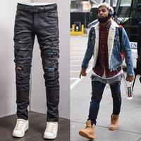 Männer gebrochene Spur Jeans plus Größe 38 Ripper Paneele Stretch Distressed Fading Denim Male Street Designer