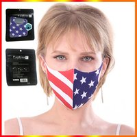 American National Flag Face Mask Patriot Design Protective Mouth Cover Adults Women Men Washable Reusable Breathing with English Package Fast Delivery
