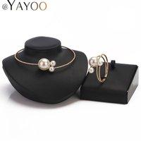 Yutong женщин, смоделированные жемчужные ожерелья аксессуары позолоченный европейский большой бренд Torques ювелирные изделия набор партии мода все матч цвета