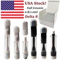 USA Stock Th205 Full keramiska vapenpatroner Delta 8 Atomizers vagnar 0.8ml 1ml Tryck på skumförpackningspennpenna 510 tråd E Cigarett tjock olja DAB vaxförångare tom