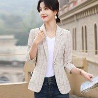 Women's Suits & Blazers Korean Jacket Women 2021 Fashion Spring Slim Plaid Jackets Thin Plus Size Elegant Ladies Tops Outerwear Basic Female