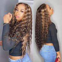 Brazilian Highlight Honey Blonde wig Hd Pre-plucked Virgin Human Hair Deep Wave Lace Frontal Wigs For White and Black Women 150% density