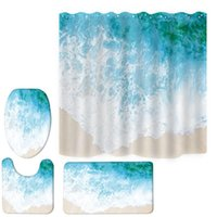 Shower Curtains Natural Scenery Printed Pattern Curtain Pedestal Rug Lid Toilet Cover Mat Bath Set Bathroom Home Decoration