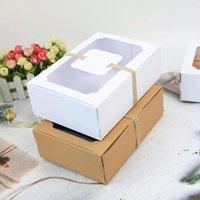 Yeni Beyaz Siyah Kraft Kağıt Favor Hediye Kutusu PVC Temizle Pencere Çerezler Bedava Kutuları Düğün Parti Dekorasyon Şeker Kutusu EWD6654