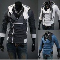 Herren Assassins Creed 3 Mit Kapuze Manteljacke Mode schiefe Reißverschluss Slim Hoodies männlich Casual Fit Langarm Sweatshirts Tops