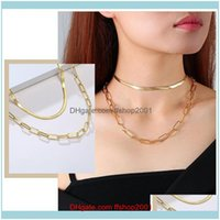 Necklaces & Pendants Jewelrywomen Gold Tone Paperclip Snake Chain Necklaces,Chic Stainless Steel Oval Rec Choker Collar,Minimalist Jewelry C