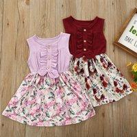 Baby Sommerkleidung Mädchen Kinder Sleeveless Leinen Bogen Blumenkleid Kleidung Infant geboren Urlaub Urlaub Kleider Mädchen
