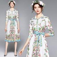 Boutique Shirt Dress Three Quarter Sleeve Womens Floral Dress 2021 Summer Autumn Shirt Dresses High-end Trendy Lady Printed Dress