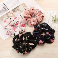 Flamingo Solid Houndstooth Design Women Hair Tie Accesorios Scrunchie Ponytail Hair Holder Rope scrunchy basic Hair band FJ3351 223 Z2