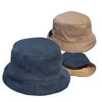 Benna cappello designer estate pescatore di pescatori donne mens patchwork washed jeans fold cotone snapback piatto tappo piatto vacanze spiaggia by-lati tappi da pesca a due lati tappi canmatch