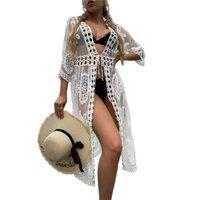 Women's Swimwear Women Bikini Cover Ups Summer Long Sleeve Floral Crochet Loose Sheer Kimono Dress Ladies Maxi Dresses Swimwears Cover-Ups