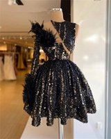 Sexy Black One Shoulder Prom Dresses For Women 2022 Feathers Sequined Short Mermaid Party Dress Mini Cocktail Homecoming