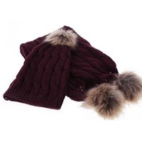 Hats, Scarves & Gloves Sets Winter Hats For Women Knitted Two Piece Girl Solid Warm Wool Set Female Scarf Gift Beige Black Wine Red