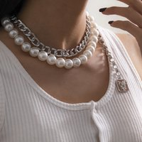Beaded Necklaces Punk exaggerated thick chain Square Pendant antique imitation pearl suit necklace for women