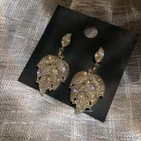 2021925 Dangle temperament fashion exaggerated geometric square diamond earrings net red simple female rectangular long section TWE4beautifuls