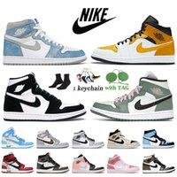 Nike Air Jordan 1 1s off white Jordan Retro 1 travis scott Jumpman Mid SE Sans Peur Maison Château Rouge Femmes Hommes Basetball Chaussures Sneakers Baskets Rose numérique