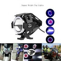 125W Motorcycle Headlights with Switch Motorbike Auxiliary Spotlight U7 LED Motor Driving Strobe Flashing DRL Lights for ATV UTV Tru car dvr