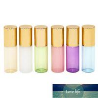6pcs 3ml Roll-On Bottle Bottle Botella de aceite esencial Botella de subpaquetado portátil (dorado, verde, blanco, azul, rosa, púrpura para EA
